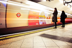 London underground embankment station. waiting people Royalty Free Stock Photography