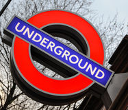 London Underground. Illuminated sign details stock photography