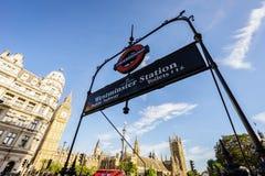 London underground logo at westminster station Stock Image
