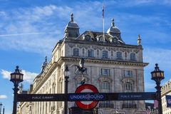 London Underground. London 10/06/2017: The symbol of underground is one of the most famous symbols of London like the other famous buildings.  It is well known Royalty Free Stock Photography