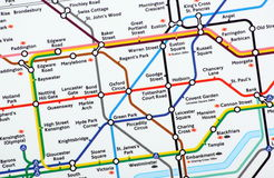 London Underground Map. London, United Kingdom - February 01, 2014: A close up of the main section of the London Underground Map Royalty Free Stock Photography