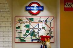 London Underground Map Built From LEGO Bricks. London, UK - November 22, 2016 - London underground map built from LEGO bricks, displayed in the world`s largest Royalty Free Stock Photo