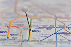 London Underground Map with pin in High Street Kensington Statio Stock Images