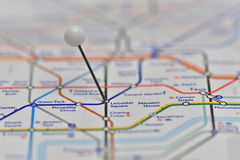 London Underground Map with pin in Leicester Square Station Stock Photos