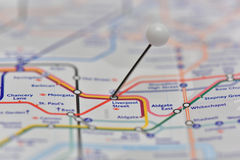 London Underground Map with pin in Liverpool Street Station Royalty Free Stock Photo