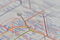 London Underground Map with pin in Paddington Station Stock Images