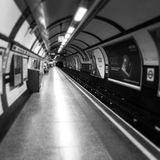 London Underground at night. Underground station in black and Royalty Free Stock Image