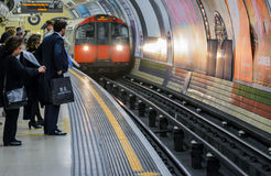 London Underground - people waiting for a train Royalty Free Stock Images