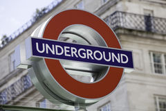 London Underground roundel sign. London, United Kingdom - June 8, 2011: London Underground roundel sign against blurred background on June 8, 2011. Recently Royalty Free Stock Photo