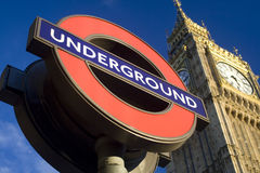 London Underground Sign. Outside the houses of Parliament in London Stock Image