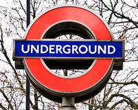 London underground sign. London underground tube sign close up Stock Image