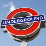 London underground sign. London, UK - October 18, 2011: Close up underground sign. The sign was first used in 1908, now this underground logo used by other Royalty Free Stock Images
