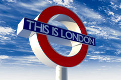 This is London Underground Sign. A 3D illustration of a London Underground sign with the words, This is London written on it Royalty Free Stock Photos
