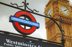 London underground sign. LONDON - APRIL 4: London underground sign on April 4, 2015 in London, UK. The system serves 270 stations and has 402 kilometres of track Royalty Free Stock Photos