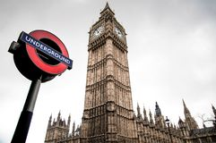 London underground sign and Big Ben Stock Image