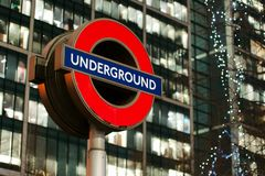 London Underground sign in Canary Wharf Stock Images