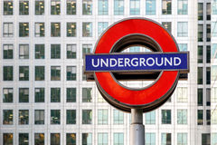 London Underground Sign in Canary Wharf Stock Photos