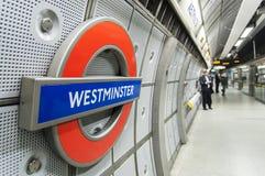 London Underground sign inside Westminster Station. LONDON, UK - APRIL 02: London Underground sign inside Westminster station. April 02, 2012 in London Royalty Free Stock Image