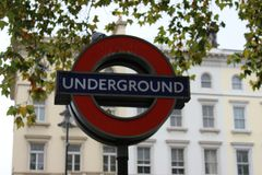 The London underground sign, metro. The sign of underground of London, United Kingdom. Metro stock photo