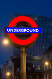 London Underground sign at night Stock Images