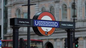London Underground sign at Piccadilly Circus - LONDON - ENGLAND - SEPTEMBER 5, 2017. London Underground sign at Piccadilly Circus - LONDON - GREAT BRITAIN stock video footage