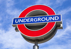 London Underground Sign. LONDON, UK - JULY 10TH 2015: A sign for the London Underground tube network in central London, on 10th July 2015 Stock Photos