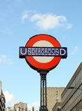 London Underground Sign. London, United Kingdom - October 23, 2009 : The London Underground sign near Temple Station. The bar and circle roundel has appeared in Stock Photo