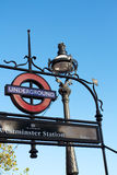 London Underground Sign at Westminster Royalty Free Stock Photo