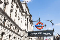 London Underground sign at Westminster station Stock Images