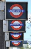 London underground. Row of London underground signs Royalty Free Stock Images