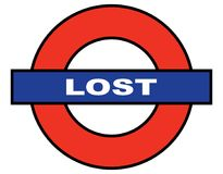 London Underground Spoof Lost Sign. A depiction of the London Underground with the word lost Stock Photo
