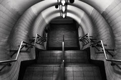 London underground stairs in black and white Royalty Free Stock Photo