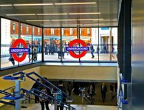 London Underground Station. An image showing an entrance and exit to the busy London Underground network of railway stations Stock Photo