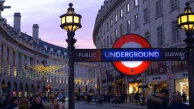 London Underground station at Piccadilly Circus - LONDON, ENGLAND - DECEMBER 10, 2019