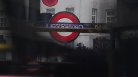 London underground station. London underground subway station entrance stock video footage