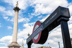 London Underground stop and Nelson's Column in Trafalgar Square Royalty Free Stock Image