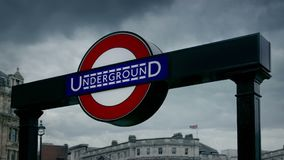 London underground subway sign. Closeup of a typical subway sign in London stock footage