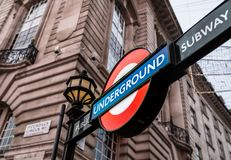 London Underground Subway Sign at Piccadilly Circus. At Christmas time Royalty Free Stock Photo