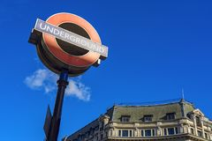 London Underground. London 10/06/2017: The symbol of underground is one of the most famous symbols of London like the other famous buildings.  It is well known Royalty Free Stock Photo
