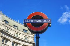London Underground. London 10/06/2017: The symbol of underground is one of the most famous symbols of London like the other famous buildings.  It is well known Stock Photo