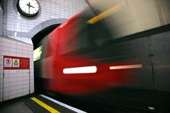 London underground train. London underground tube train travelling into tunnel Stock Image