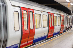London underground train carriage waiting to depart. At platform Stock Photo