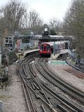 London Underground train at Rickmansworth Station platform stock image