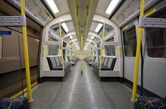 London underground Tube inside. View inside of London's Tube // Circle & Hammersmith line train Stock Photos
