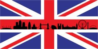 London on union jack flag. London skyline silhouette isolated on union jack flag royalty free illustration