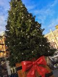 Christmas tree. London, United Kingdom – December 4, 2015: Christmas tree in front of Covent Garden Market stock photography