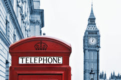 London, United Kingdom. A view of Big Ben and a classic red phone box in London, United Kingdom Royalty Free Stock Image
