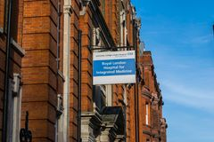 London, United Kingdom, February 17, 2018 : The front entrance of Great Ormond Street Hospital for Children in royalty free stock photos