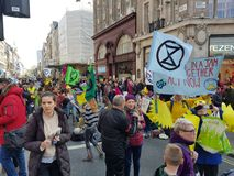 London, United Kingdom, April 15th 2019:- Extinction Rebellion protesters block in Oxford Circus in central London. To protest the current environmental stock image