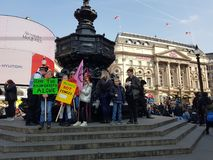 London, United Kingdom, April 15th 2019:- Extinction Rebellion protesters block in Picadilly Circus in central London. To protest the current environmental stock photos